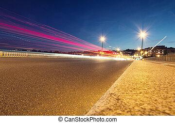 movimiento, urbano, calles, noche