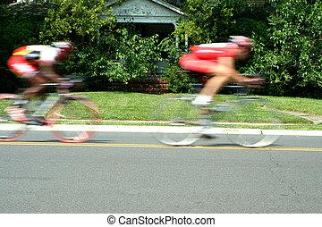 movimiento velado, carrera de bicicletas