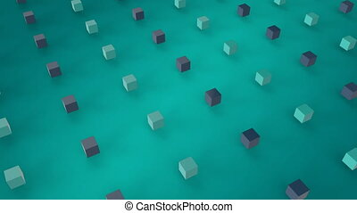 Moving 3D cubes in blue background