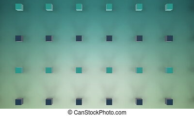 Moving 3D cubes on green background