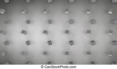 Moving 3D cubes on grey background