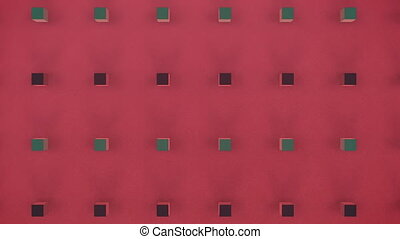 Moving 3D cubes on red background
