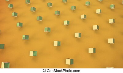 Moving 3D cubes on yellow background