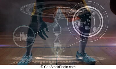 Moving 3D DNA with basketball player playing