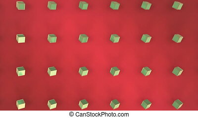 Moving 3D green cubes moving on red background