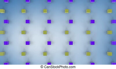 Moving 3D yellow and purple cubes on white pale blue ...
