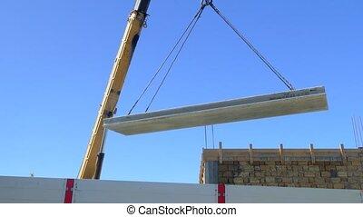 Moving a concrete slab using a truck crane - Moving concrete...