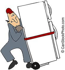 Moving A Refrigerator - This illustration depicts a worker ...
