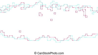 moving abstract geometric rectangular lines on white...