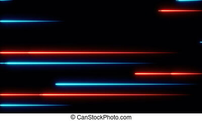 Moving abstract neon lines in space, 3d rendering