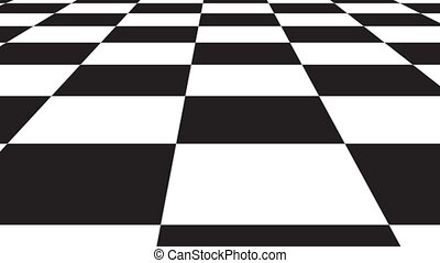 Moving ackground chessboard pattern in perspective, black and white geometric design.