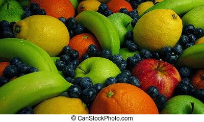 Moving Across Artistic Fruit Arrangement - Tracking shot...