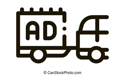 moving advertisement by car Icon Animation. black moving advertisement by car animated icon on white background