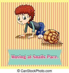 Moving at snails pace illustration