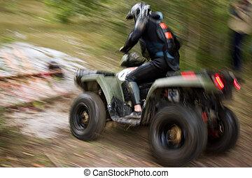 Moving ATV - Sportsman riding quad bike at extreme...