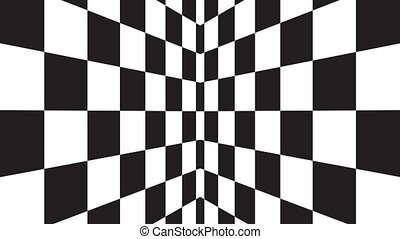 Moving background chessboard pattern in perspective, black and white geometric design.