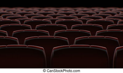 Moving Behind the Chairs in Abstract Cinema Hall with Black...