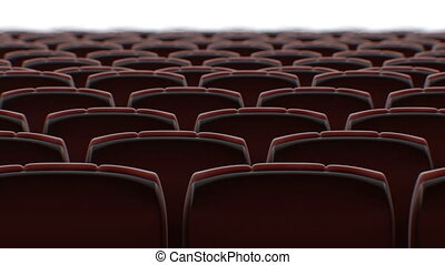 Moving Behind the Chairs in Abstract Cinema Hall with White...