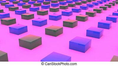 Moving blocks stripes closeup view 3d footage