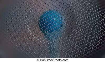 Moving blue fan in slowmotion