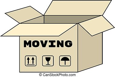 Moving box carton icon. Vector isolated illustration