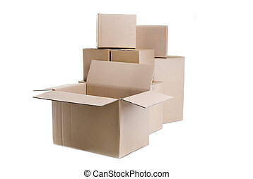 Moving boxes - A pile of moving boxes with one open and...