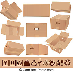 Moving boxes - Cardboard´s boxes set with handles in...