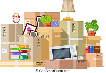 Moving boxes. Carton box packing family stuff. Cardboard parcels relocation, cargo package to new house. We are moved vector illustration