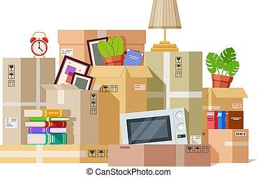 Moving boxes. Carton box packing family stuff. Cardboard ...