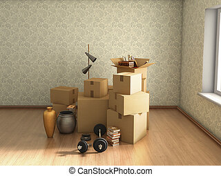 moving boxes in empty room, 3d illustration