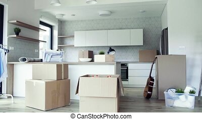 Moving boxes, ladder and clothes rack on the floor in new...
