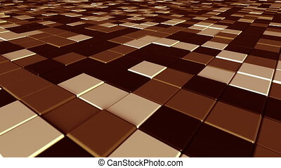 Moving brown square tiles - Swaying brown bars motion...