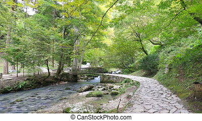 Moving by the paved path along the mountain river