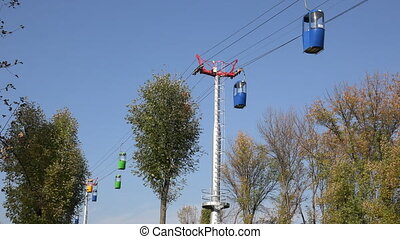 Moving Cableway Cabins with Deep Blue Background