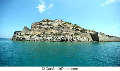 Moving Camera around Spinalonga fortress, Crete - Moving...