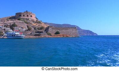 Moving Camera around Spinalonga venetians fortress, Crete
