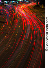 Moving car with blur light on street