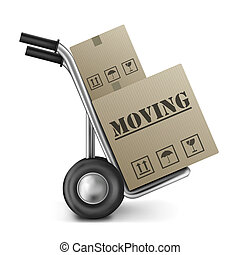 moving cardboard box on hand truck isolated on white relocation package