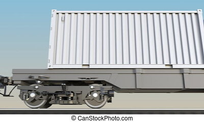 Moving cargo train and blank white containers. Railway...