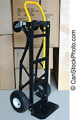 moving cart dolly, boxes in background