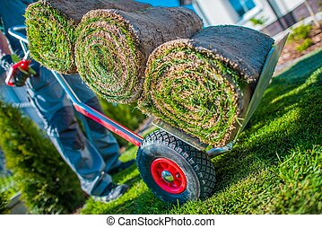 Moving Cart with Grass Turfs