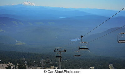 Moving Chairlift - Magic Mile chairlift on Mount Hood with...