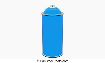 Moving Color spray can in blue color on white background