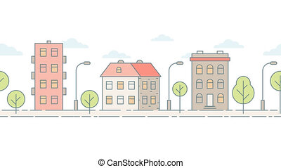 Moving colored seamless cityscape. Minimalist style. Loop...