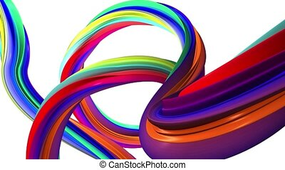 Moving colorful of abstract lines. White background