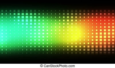 Moving colourful squares against a black background
