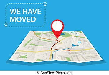 Moving concept. Changing address, new location on navigation map. Use for, landing page, template, ui, web, mobile app, poster, banner Vector illustration in flat style