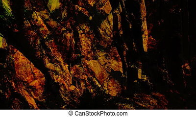 moving crane shot of rock face