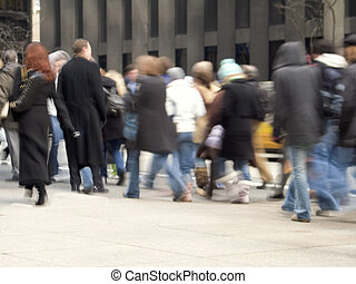 Moving Crowd - This is a blured shot of a crowd of bussiness...