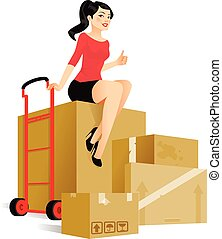 Moving - Cute young woman sitting on boxes is ready to move ...